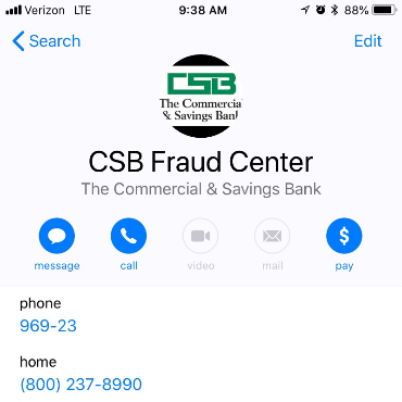 Photo of CSB Fraud Center Phone Contact with Text and Call Numbers